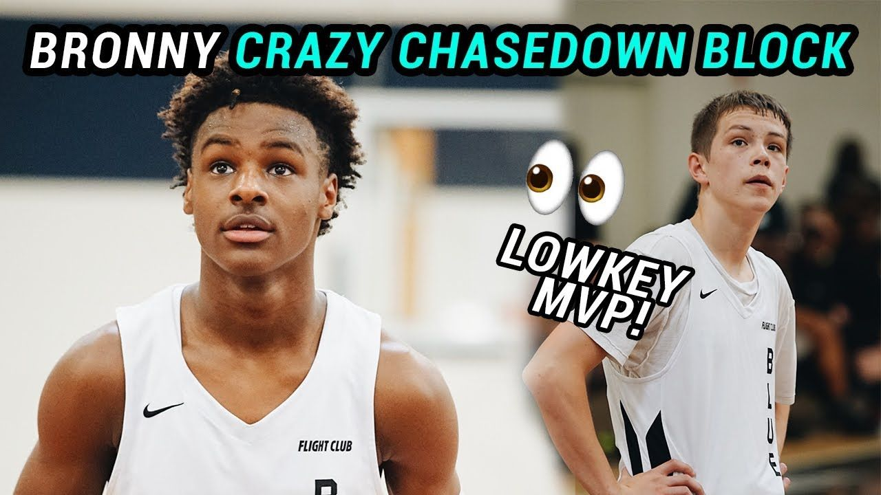 Bronny James WILD Chasedown Block! Gabe Cupps Gets LeBron OFF HIS SEAT In Close Blue Chips Game 😱