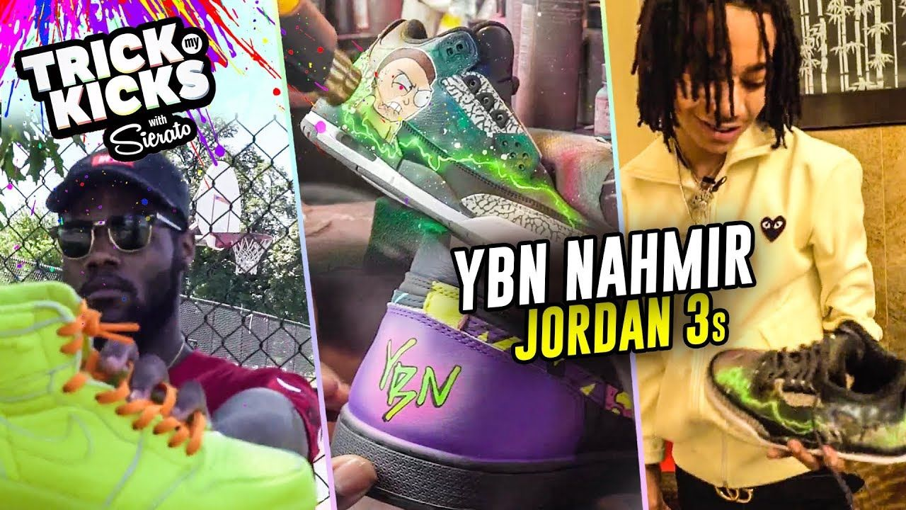 YBN NAHMIR Gets Rick & Morty Customs From NBA Sneaker Artist Sierato! Jordan 3s GO HARD 😱